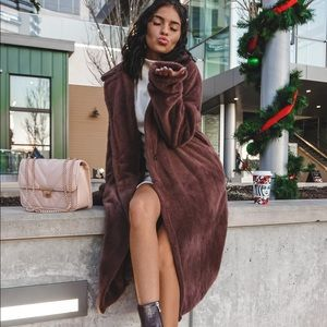 Brown Faux Fur Full Length Trench